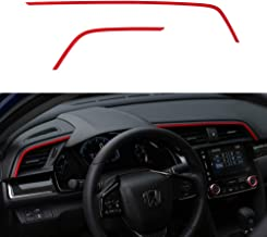 Thenice 2pcs Center Consoles Stickers Air Vent Trims Dash Board Panel Strips Inner Decals for 10th Gen Honda Civic 2020 2019 2018 2017 2016 -Red