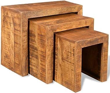 Lot de 3 Table Gigognes Tables Basses Gigognes de Salon en Bois Massif de Manguier Durable Table d'Appoint Table Cafe pou