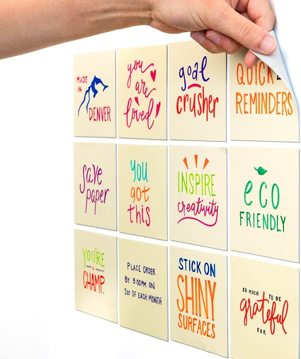 SEAL limited product 1 year warranty M.C. Squares Stickies Yellow Reusable 12-Pack Notes 4x4 Sticky