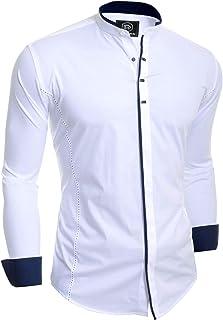 D&R Fashion Men's Elegant Long Sleeve Shirt Smart Casual Grandad Collar Snaps Cotton Fitted
