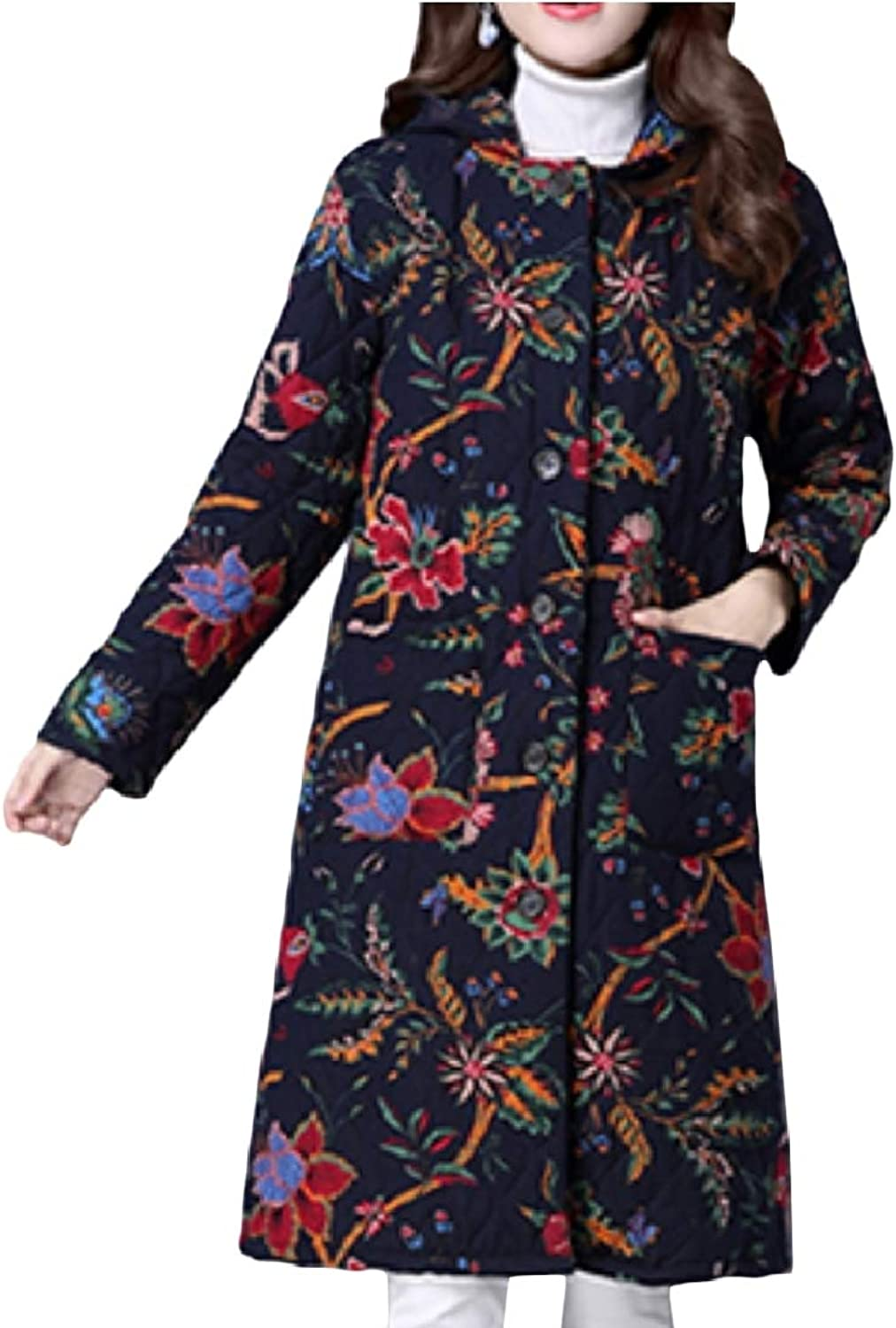 Yingshif Women Hoodie Floral Print Ethnic Maxi Cotton Padded Outwear