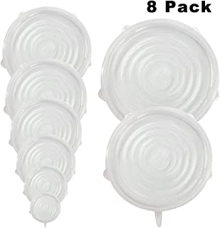 8 PCS Silicone Stretch Lids Safe in Microwave Dishwasher Refrigerator, Reusable Durable Expandable Food Covers or Bowl Covers Fit Various Sizes to Keep Food Fresh Eco-friendly