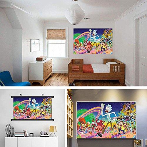 Wall Art Decor Poster Artworks, Rick y Morty Cartoon Poster Pintura Decorativa Imprimir Personajes Decoración del hogar Ornamento Decoración Tela de Seda