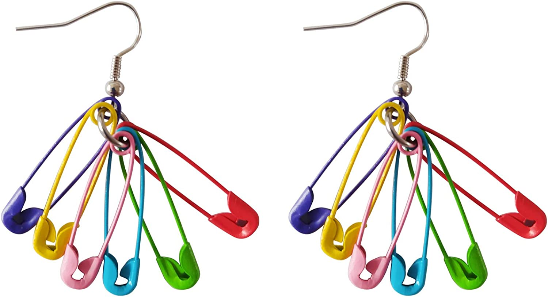 ROSTIVO Paper Clip Earrings Colorful Dangle Earrings Gag Gifts