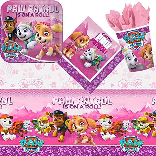 Paw Patrol 81-TLG. Partyset roze * voor kinderverjaardag met borden + beker + servetten + tafelkleed + decoratie | verjaardag partyservies decoratie kinderen party themafeest motto politie hond meisje