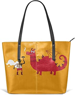 Dragon BBQ Leather Tote Large Purse Shoulder Bag Portable Storage HandBags Convenient Shoppers Tote