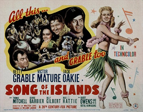 Song of the Islands, Thomas Mitchell, Jack Oakie, Victor Mature, Betty Grable, 1942 - Foto-Reimpresión película Posters 32x25 pulgadas - sin marco
