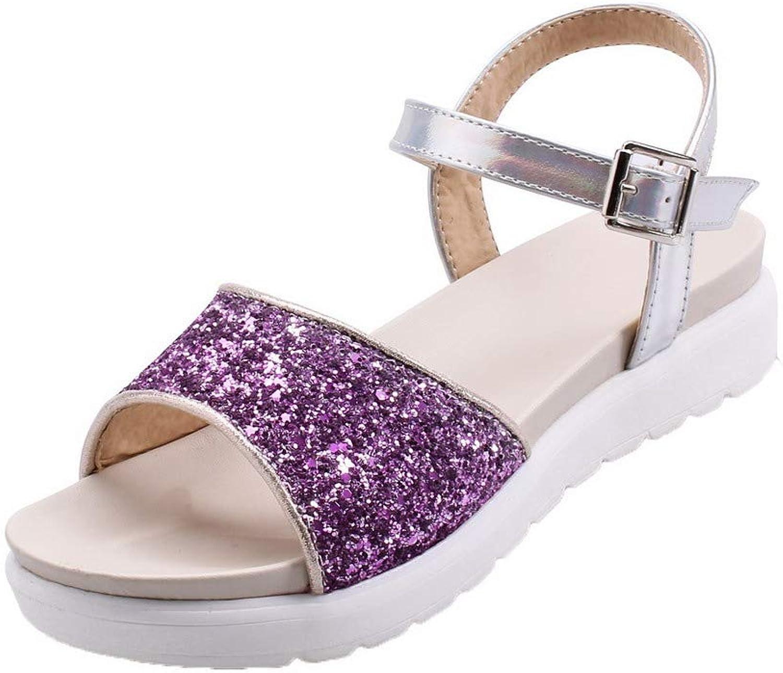 Weit Woherrar Low -klackar -klackar -klackar Sekiner Tilldelad färgspänne Open -Toe Sandals, EGHH00744  hög kvalitet