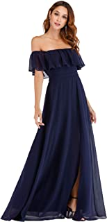 Womens Off The Shoulder Ruffle Party Dresses Side Split Beach Maxi Dress 07679