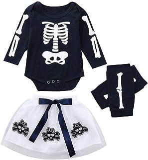 Transwen Baby Halloween kostüm,Transwen Kleinkind Baby Mädchen Strampler Appliques Skull Rock Leggings Halloween kinderkostüme Spielanzug Outfits Kleider Set