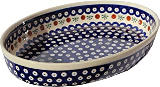 """Polish Pottery Oval Baker From Zaklady Ceramiczne Boleslawiec #350-41 Nature Pattern, Width: 12"""" Length: 8.5"""""""