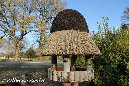 REETDACH VOGELVILLA MASUREN 4 BIRKE 180x57x57 Vogelhaus Futterhaus mit Ständer - 2