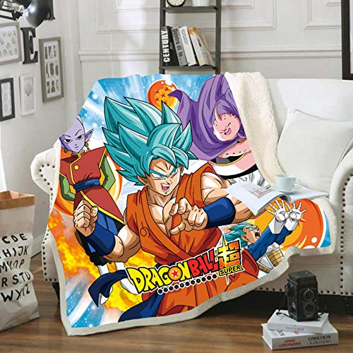 BATTE Manta de yoga con diseño de anime Dragon Ball, Goku Anime Character 3D, manta de forro polar, para oficina, sofá, cama, dormitorio (02,150 x 200 cm)