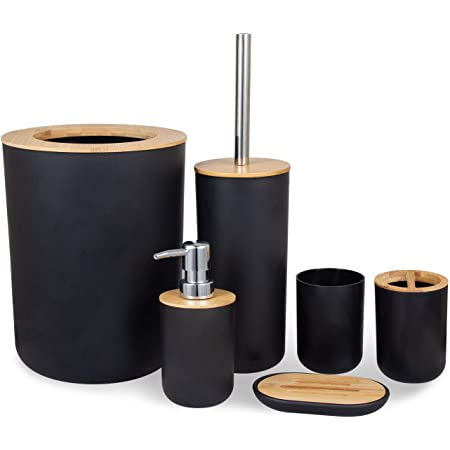 MisFox Lot de 6 accessoires de salle de bain en bambou et respectueux de l'environnement avec distributeur de lotion, poubelle, support de brosse à dents, gobelet à dents, brosse WC et porte-savon