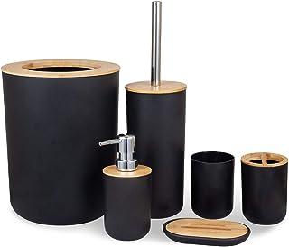 MisFox Lot de 6 accessoires de salle de bain en bambou et respectueux de l'environnement avec distributeur de lotion, poub...