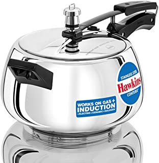 Hawkins Stainless Steel Contura Induction Compatible Pressure Cooker, 5 Litre, Silver (SSC50)
