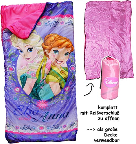 alles-meine.de GmbH 2 in 1 : Schlafsack & XL Decke - 150 cm -  Disney Frozen - die Eiskönigin  - komplett aufklappbar - Kinder sehr leicht - Kinderschlafsack / für Mädchen auch..
