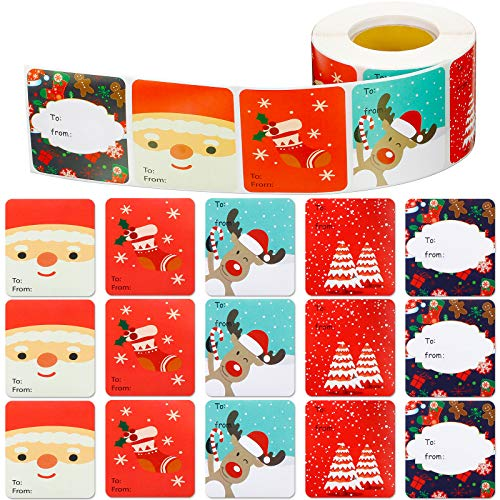 500 Pieces Christmas Tags Labels Xmas Tag Stickers Christmas Santa Claus Name Sticker Self Adhesive Christmas Tag Christmas Festival Labels Name Decals Birthday Wedding Holiday Decor