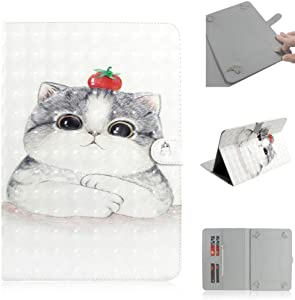 3D Universal Case for Acer Iconia One 10 B3-A40 / Acer Iconia Tab 10 A3-A30 / Acer Iconia Tab 10 A3-A40 Touchscreen Tablet, Stand Folio PU Leather Protective Cover – White Cute