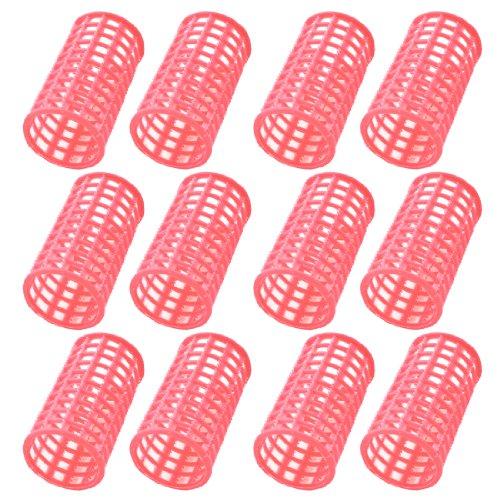 sourcingmap 12 Pièces Plastique Rose DIY Coiffure Stylisation Rouleaux Bigoudis Clips