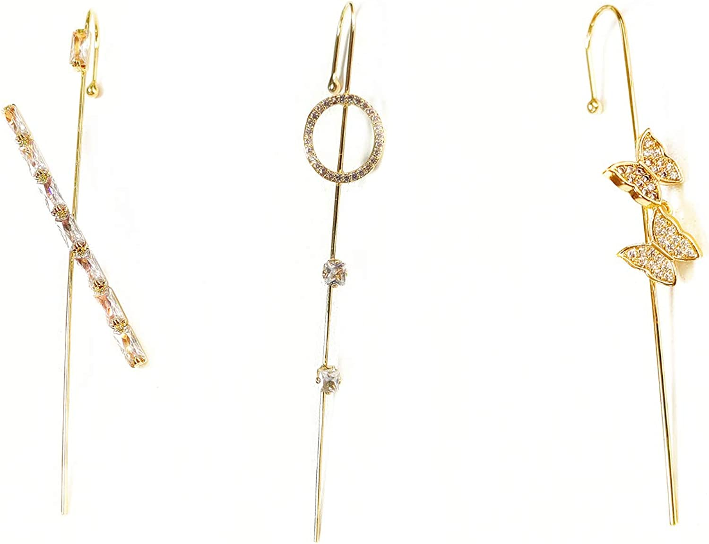 Gold Seattle Mall Ear Cuff Wrap Crawler Wire Ne Colorful Sparkling Rhinestone Max 46% OFF