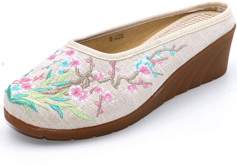 Ladies' Linen Hemp Upper Embroidery Wedges Casual Slipper Vintage Women Slides Versatile Sandal Round Toe