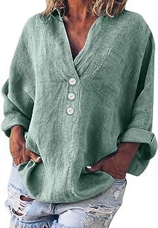 Arriba 2019, Manera de Las Mujeres más el tamaño sólido de Lino Casual con Cuello en V del botón de la Blusa de la Camiseta