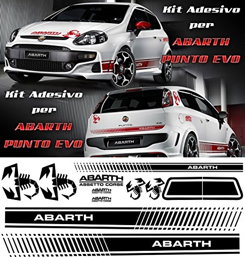 Set von front-black–500Abarth Fiat Punto evo-tuning Bands Aufkleber, Aufkleber Aufkleber Zubehör