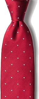 Men's 100% Silk Red & White Hearts Valentine's Love Day Necktie Tie Neckwear