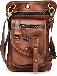 JIAJIA Locomotive Leather Harley Locomotive Riding Pockets, American Retro Coloring Outdoor Hiking Mobile Phone Bag, Crossbody Bag, Excellent Material, Uniform Workmanship,Brown Sports