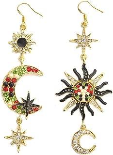 Star Sun Moon Design Mismatched Crystal Drop Earrings for Women Vintage Asymmetrical Jewelry
