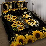 GEEMBI Quilt Bedding Set-Faith Jesus Christ Butterfly Sunflower Quilt Bed Set DDH2075QS, Queen Size Coverlet for All Season-Soft Microfiber Bedspread+Pillows-Quilts Gifts (King,Queen,Twin)