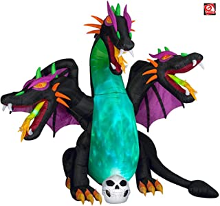 AIR CHARACTERS 10' Gemmy Airblown Animated Inflatable Fire & Ice Three Headed Dragon w/Skull Halloween Yard Decoration 223574