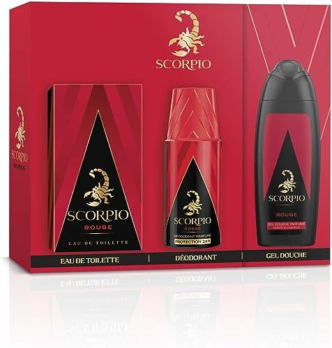 SCORPIO Coffret 3 produits Rouge - Eau de toilette flacon 75ml, Gel Douche 250ml et Déodorant atomiseur 150ml
