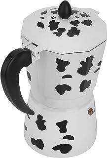 【𝐒𝐩𝐫𝐢𝐧𝐠 𝐒𝐚𝐥𝐞 𝐆𝐢𝐟𝐭】 モカポット、エスプレッソケトル、耐久性のある調理器具/ガスストーブ/電気ストーブ安全掃除が簡単高速作業コーヒーアクセサリーホームカフェ乳牛の色(6 cups milk cow c...