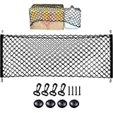 Storage Net for Car Trunk, Automotive Cargo Net for Truck Bed Streches, Elastic Nylon Mesh Universal Rear Car Organizer Net with Hooks, Tail Box Net Pocket for SUV(43 x 23 )