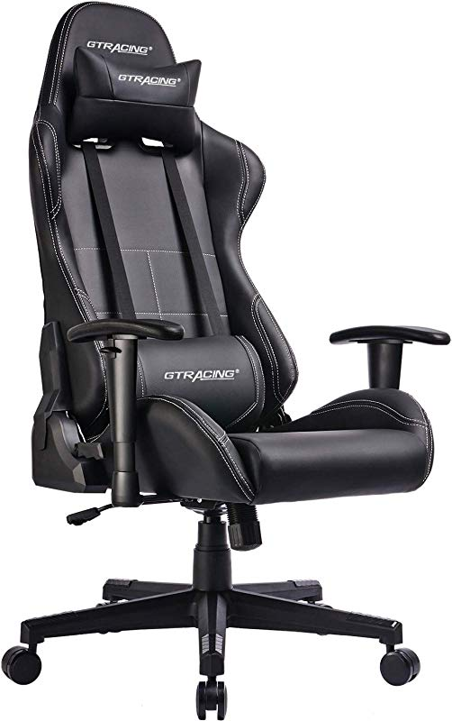 GTRACING Gaming Chair Ergonomic Racing Chair PU Leather High Back Adjustable Height Professional E Sports Chair With Headrest And Lumbar Pillows GTBEE Series Black