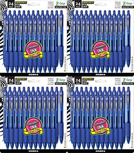 Zebra Pen Z-Grip Retractable Ballpoint Pen, Medium Point, 1.0mm, Blue Ink, 4 Pack of 24 (Packaging may vary)