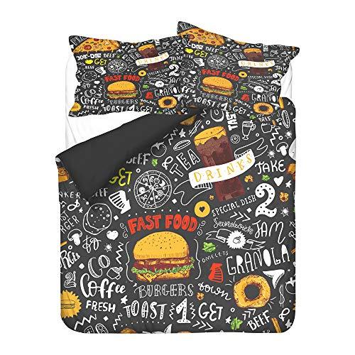 Hiser Bettwäsche-Set 3 Teilig - 3D Fast Food Hamburger Pommes Bedrucktes Bettwäsche Set - Mikrofaser Bettbezug und Kissenbezug - Erwachsene Kinder Bettwäsche-Set (Schwarzes Fast Food,135x200cm)