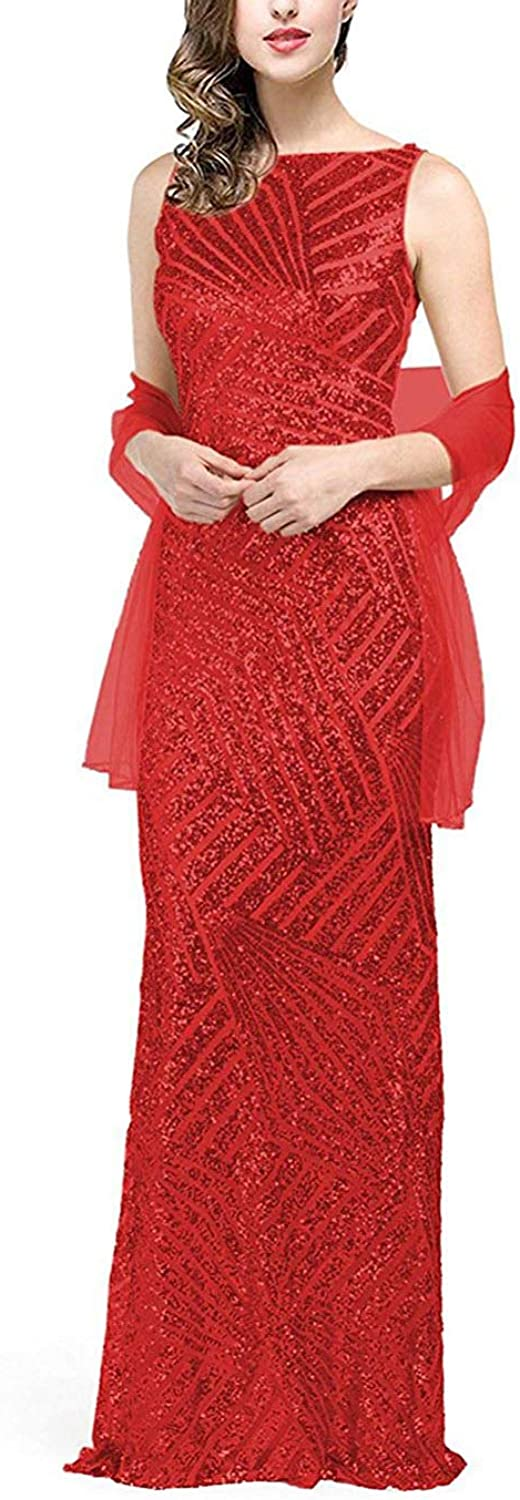 Fitty Lell Women's Long Halloween Party Gown Mermaid Sequins Evening Dress