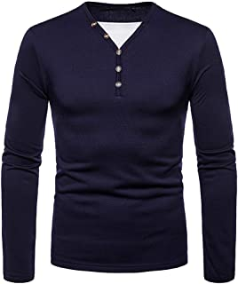 836199ab2b305 iLXHD 2018 Men s Multi-Type V-Neck Shirts Long Sleeve Solid Sweartshirts  Tops