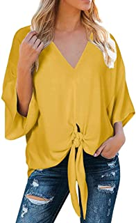 iTLOTL Women Summer V Neck Shirts Tie Knot Front Bat Wing Blouse Casual Tops