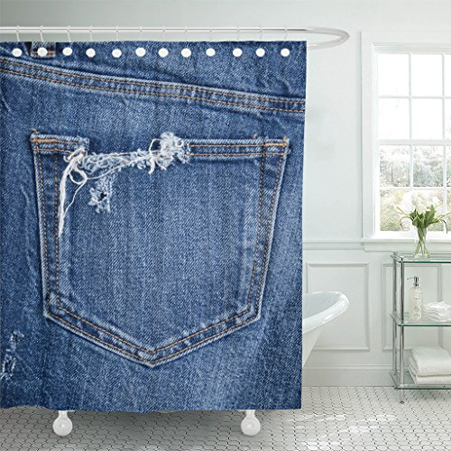 TOMPOP Shower Curtain Blue Canvas Torn Jeans Denim Pocket Abstract Blank Border Waterproof Polyester Fabric 72 x 72 Inches Set with Hooks