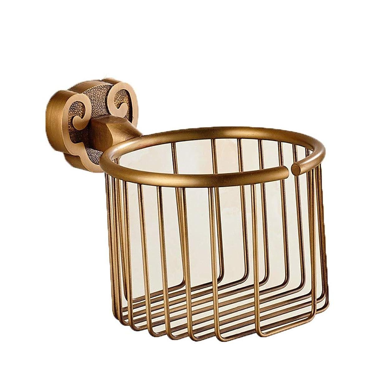 贅沢なはぁロッカーペーパータオルホルダー 骨董品の真鍮の浴室の壁に取り付けられたペーパーホールダーは化粧品の石鹸のバスケットのホールダーを切り分けました フック (色 : ブロンズ, サイズ : ワンサイズ)