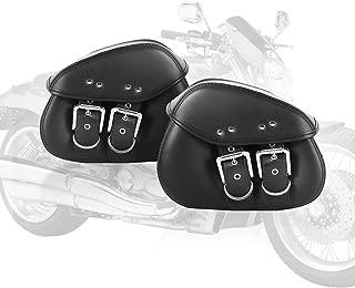 OXMART Motorcycle Saddle Bag 1 Pair Motorcycle Side Bag with Waterproof PU Leather and Enough Storage Space Tool Bag Universal Fir for Harley Sportster Honda Shadow Suzuki Yamaha Cruiser Black