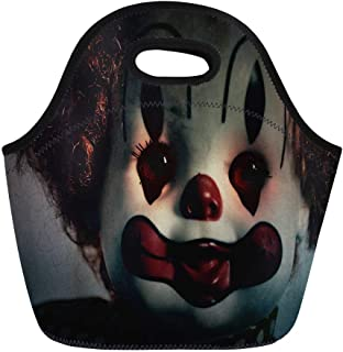 Semtomn Neoprene Lunch Tote Bag Closeup of Scary Evil Clown Toy Doll That Could Reusable Cooler Bags Insulated Thermal Picnic Handbag for Travel,School,Outdoors, Work