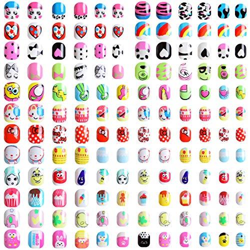 288 Pezzi Unghie Finte per Bambini, Kalolary Corte Pre-colla Unghie Artificiale per Bambini Corti con 48 Pezzi Adesivi Colla per Unghie, Unghie Finte Carine per Bambine Unghie Nail Decor