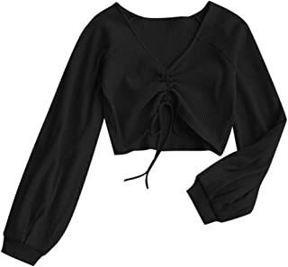 ZAFUL Women's Casual Long Sleeve V-Neck Ribbed Knitted Knot Front Crop Top