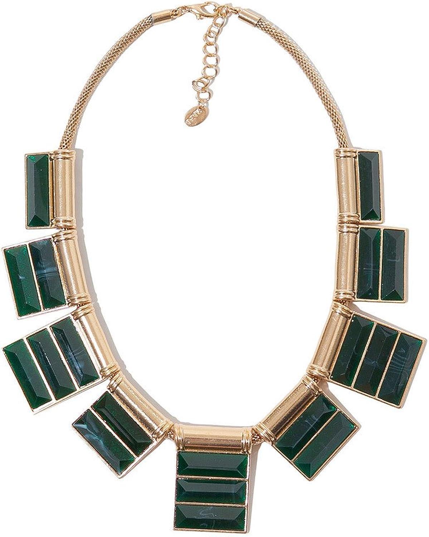 Modern Rock Feel Big Rectangular Geometry Emerald Necklace Pendant