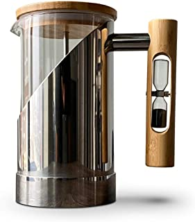 StramperPress| French Press coffee maker | HourGlass Timer| Coffee Press| (Silver, Stainless Steel)